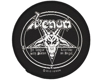 "Black Metal ""Venom: In League With Satan"" Patch Thrash Band Fan Sew-On Applique"