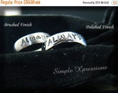 25% OFF - 2 Rings - Matching Promise Rings - Brushed or Polished Stainless Steel Hand Stamped Rings