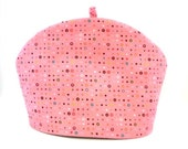Pink Tea Cozy / Teapot Warmer / Colored Dots / RedLeafStitchCraft