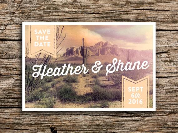 Wedding Invitations Az: Desert Sunset Vintage Postcard Save The Date // Peach Cactus