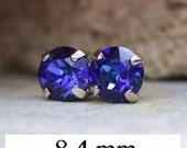 8.4mm, Heliotrope Studs, Swarovski Xirius, Crystal Stud Earrings, Rhodium Earrings, Rhinestone Studs, Rhinestone Earrings, Flat Back Stud