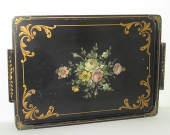 Large Vintage Hand Painted Black Wood Tole Toleware Tray