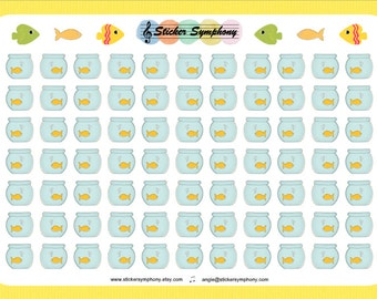 CLEAR or WHITE Fish Bowl Planner and Scrapbook Stickers, Aquarium