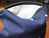 Organic Cotton Zipper Pouch, Small, Dark Navy Blue with Birds