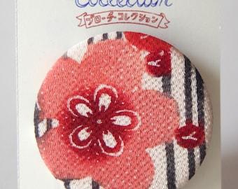 "Brooch with vintage japanese kimono ""Momo"""