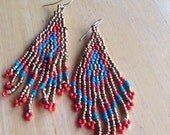 Hand Beaded Chandelier Earrings, Native American Inspired, Dangle, Drop, Gold, Red, Turquoise