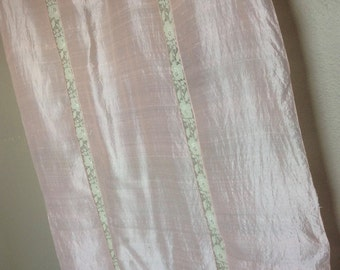 50% Off, Vintage Silk and Lace, Muted Pink with Ivory Lace Inserts, Floral Lace, Boudoir, Scarf, 41 inches by 34 inches, Textile