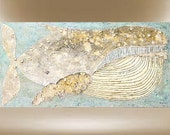 humpback whale textured painting modern original art 24x48 FREE SHIPPING