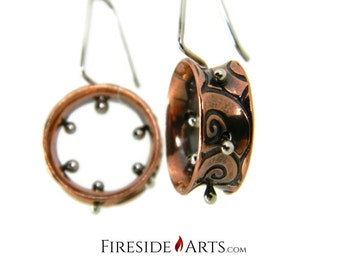 SALE - Swirls Spinner Earrings. Etched Copper Fine Silver Balls Dangle Sterling Silver hooks.  Metalsmith
