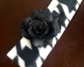 Houndstooth Headband with Removeable Flower