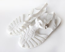 Vintage milk white plastic summer jelly strappy shoes sandals