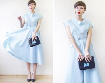 50s Vintage sky blue white sheer see through belted over the knee hourglass midi dress L
