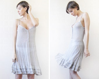 Vintage sheer light grey raw linen knit strappy flared ruffle skirt tunic midi dress L