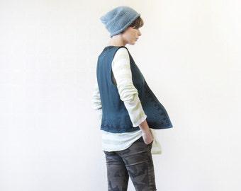 Vintage green wool bead embroidery waistcoat vest top XL