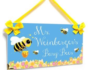 Custom Teacher Bee Theme Classroom Door Sign