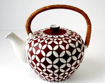 Vtg Ioska Denmark Pottery Tea Pot Rattan Handle Cover Brown White Four Petals Studio Art Ceramics Danish Modern Hand Made Denmark VG Cond