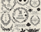 70% SALE Wedding Laurels Silhouettes Clipart, Wedding Wreaths, Black Wedding Silhouettes Clip Art, Laurels and Wreaths - Instant Downlo