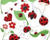 70% Sale Little Ladybug Digital Clipart - Scrapbooking , card design, invitations, stickers, paper crafts, web design - INSTANT DOWNLOAD