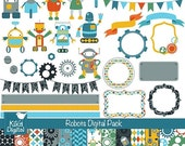 70% Sale Robots Digital Clipart and Paper Pack - Scrapbooking , card design, invitations, stickers, paper crafts, web design - INSTANT DOWNL
