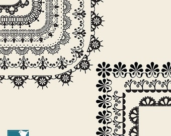 70% SALE Lace Page Borders - Digital Clipart / Scrapbooking card design, invitations, paper crafts, web design - INSTANT DOWNLOAD