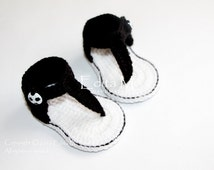 Crochet baby sandals, baby gladiator sandals, booties, shoes, READY TO SHIP, black, white, size 3-6 months, gift