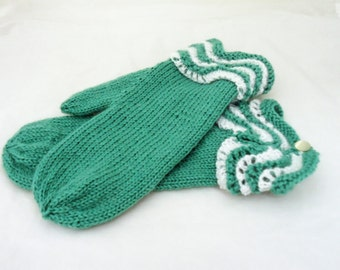 Mittens With Lace Cuff, Mittens in Mint, Women Knitt Mittens, Mint and White Mittens, Merino Wool Mittens, Gift for Her