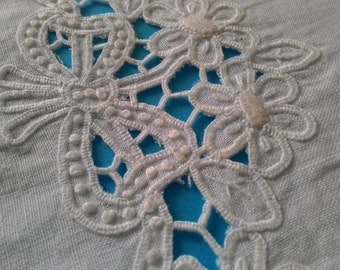Sheet and pillow,  white linen,  hand embroidered , cutwork , for Baby cot