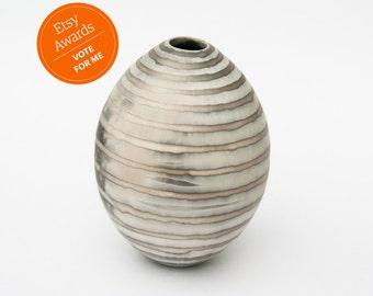 Striped Ceramic Vessel - Sawdust Fired Pot