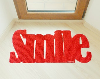 Smile. Welcome home mat. Floor mat for the entry. Doormat
