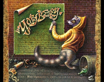 Graffiti painting, Yobbery:  raccoon artist with spray paint. Graffiti art, hand lettering, funny animal art, street art, urban decor