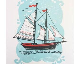 Northumbrian Darling Sail boat screen print