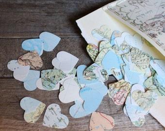 Confetti, Map Confetti, Table Scatters, Wedding Decorations, Atlas Confetti,Paper Confetti, Book Page Confetti, 200 mini hearts per package
