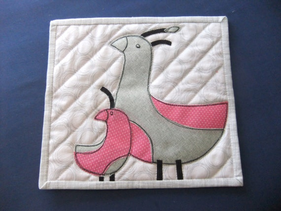 Quilted mug rug, Birds Mug Rug, Scandinavian design, Pink and gray birds, Gift for her, Made in USA