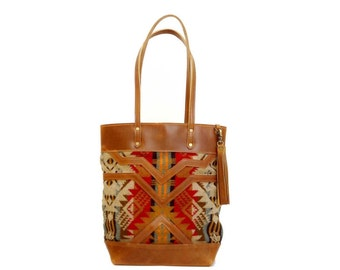 The Buena Vista Social Bag - brown leather and red colored wool