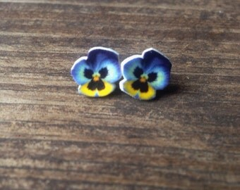 Pansy earrings jewelry flower botanical johnny jump up pretty plant