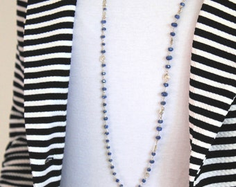 Blue Sapphire Long  Necklace- Luxe Boho Silver Chain- Wire Wrapped Handmade Jewellry