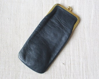 Vintage french glasses case, Navy blue leather, Spectacle case, 1960-1970, France, Etui à lunettes