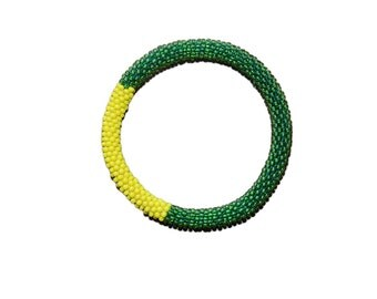 Emerald Green with Yellow Accent Crocheted Beaded Bracelet, Seed Beads, Handmade in Nepal