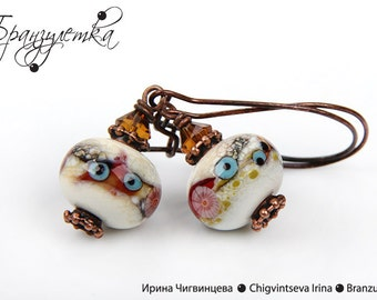 Jazz - Earrings with lampwork beads ivory red copper