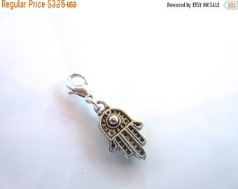 20% OFF SALE Hamsa Hand Evil Eye Clip-On Charm Tibetan Silver with silver lobster clasp--zipper pull, charm bracelets, necklace charm