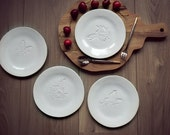 Rustic Ceramic Plate Snow White Humming Bird and Butterfly Dessert Plate Pottery Serving Plate