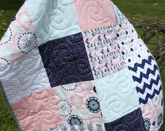 Pink, Navy & Mint Print Crib Quilt/Baby Quilt or Stroller Quilt
