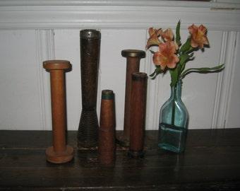 Wooden Bobbins Industrial Antique Bobbins - Antique MA Wooden Bobbins from Textile Mill - Five Wooden Spools