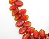 iridescent orange glass leaf shaped beads - 14mm - 12 beads