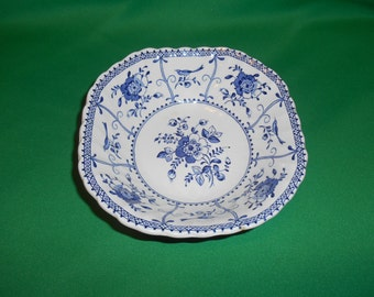 """One (1), 6 1/8"""" Square Cereal Bowl, from Johnson Bros., in the Indies Blue Pattern."""