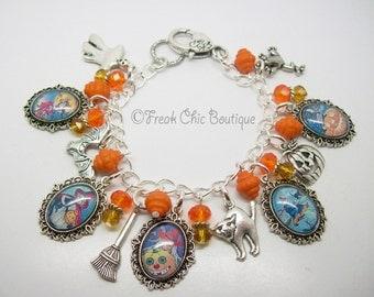 Vintage Witch Charm Bracelet, Altered Art Bracelet, Halloween, Samhain, Black Cats, Pumpkins