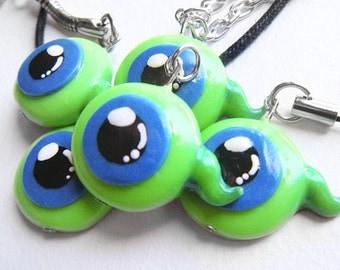 Gamer Jacksepticeye: -letsplay- GLOW in the DARK /Green eyeball/ Sam Septic Eye inspired charm,keychain,necklace,cell phone strap
