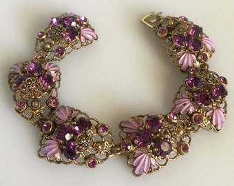 1940's Czech Bracelet Purple Lavender Amethyst Enamel Filigree Rhinestone West Germany