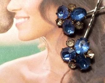 SALEWindyDays Bridal Hair Pins Jewelry 1930's Czech Blue Rhinestone Paste Bobby Pins