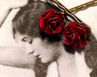 SALEWindyDays Bridal Hair Jewelry Decorative Retro 50's Red Rose Hairpins Bobby Pins